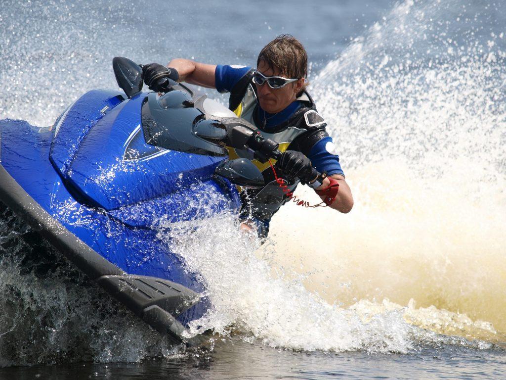 Man on WaveRunner turns very fast